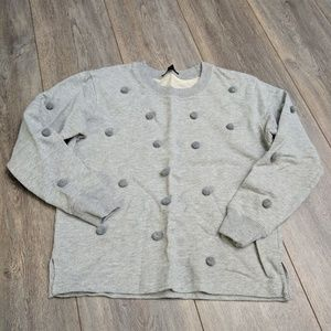 J.Crew gray crew neck pompom sweatshirt